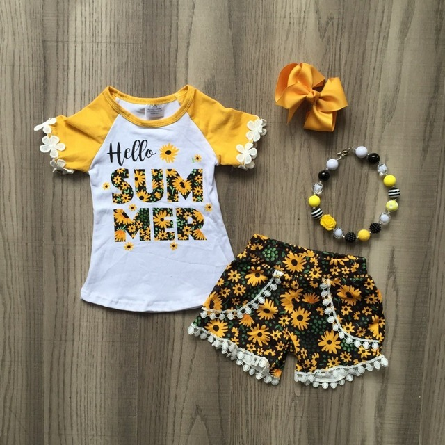 Hello Summer, Детские наряды для девочек, желтая модная одежда с помпоном, Детские комплекты, подходящее ожерелье и бант