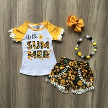 hello Summer baby children girls outfits yellow pom pom sunflower shorts boutique clothes kids sets matching necklace and bow