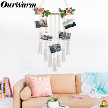 OurWarm Macrame Boho Nordic Photo Postcard Display Wooden Wall Hanging Wedding Favor Rope with Clips Photography Decoration