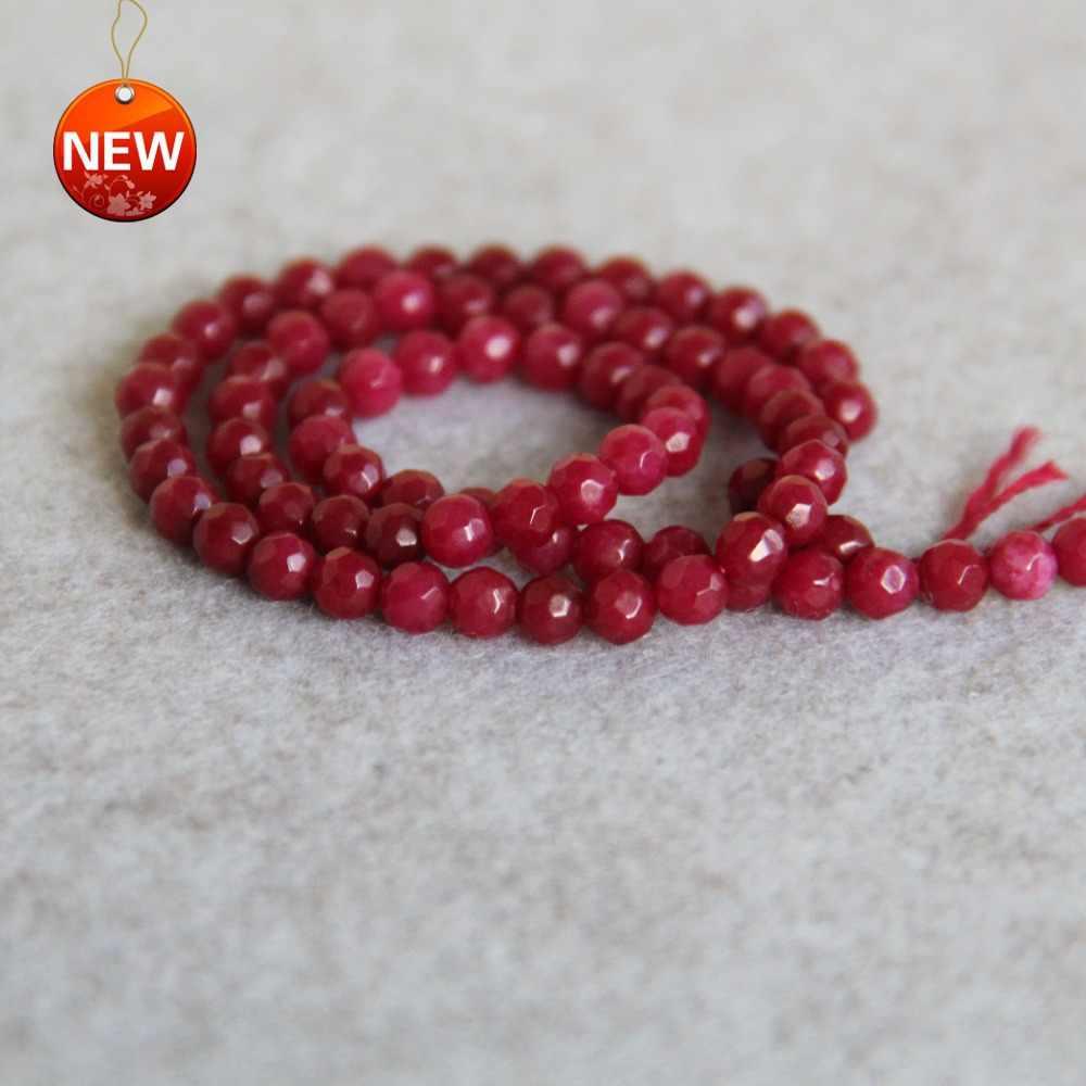 4mm Facet Natuurlijke Donker Rode Chalcedoon Kralen Ronde Vorm Stone Losse DIY Kralen Voor Ketting 15inch Vrouwen Sieraden maken Ontwerp