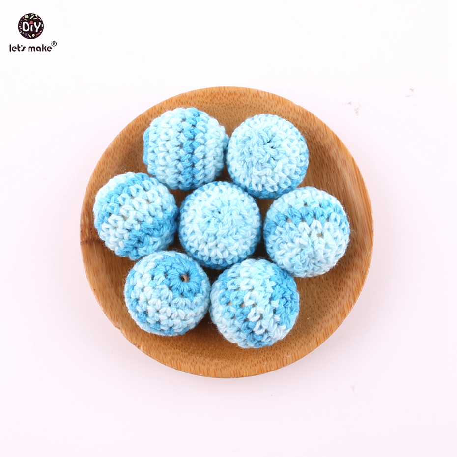 Let's Make Crochet Beads 5 PCS 20 Mm Wooden Deep Blue Round DIY Making Beads Teething Accessory Baby Teether