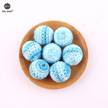 Baby Beads Teething-Accessory Make-Crochet-Beads Let's Round Wooden DIY 5pcs Deep-Blue