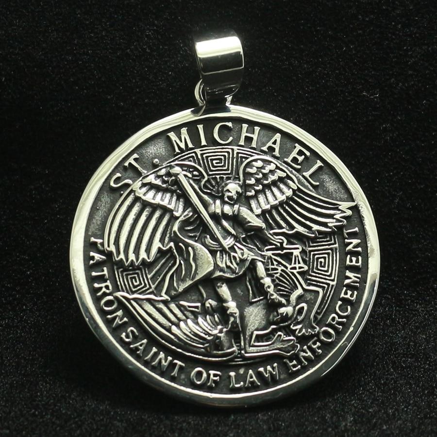 Новинка, мужские крутые круглые МЕДАЛИ из нержавеющей стали 316L с изображением святого Майкла, Защитите нас