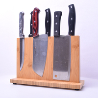 Super Strong Magnetic Knife Holder Solid Wood Bamboo Kitchen Knife Stand Magnet Knife Block Storage Stand Rack Chef Utensil Tool