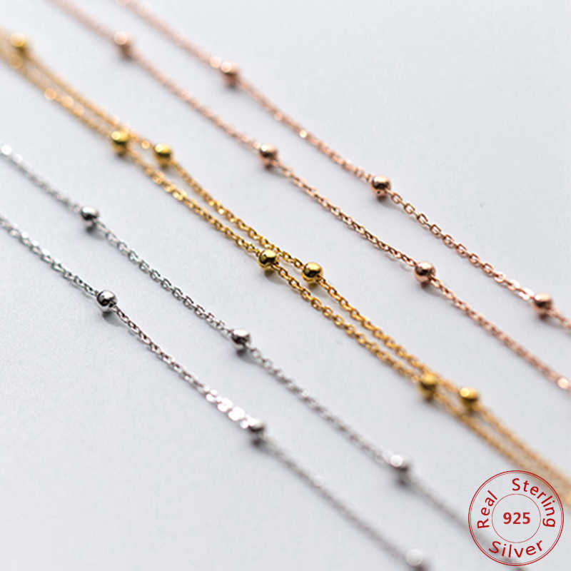 Slim Thin 925 Sterling Silver Beaded Choker Necklaces Women Girls Rose Gold Color Jewelry Link Necklace Set Chains+Lobster Clasp