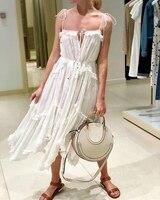 Women Spaghettie Straps Prima Ruffled White Silk georgette Midi Dress Asymmetric Panelled Prima Bow Floating Midi Dress
