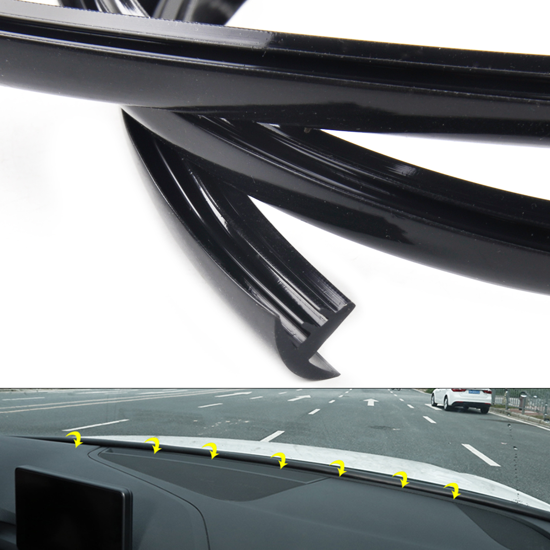 CITALL 1.6M Black Car Auto T-shape Soundproof Dustproof Car Dashboard Windshield Anti-dust Sealing Strip Trim