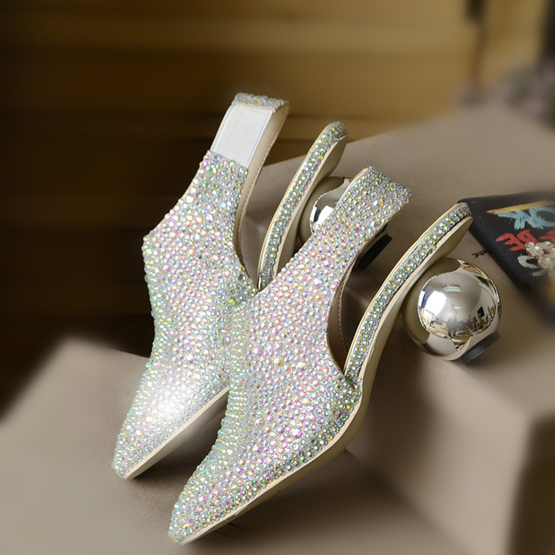 Women Rhinestone Wedding Dress font b Shoes b font Pumps Strange Heel 2016 Color Genuine Leather