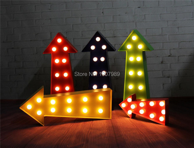"16.5"" PLASTIC Arrow LED Marquee Sign LIGHT UP Vintage Marquee Light light Indoor Dorm lighting free shipping"