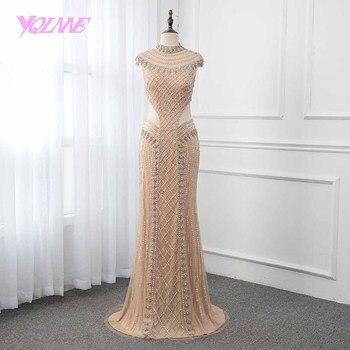 25968a79bf0 Oro sirena vestido de noche 2019 escote alto cristales cordón formal de  mujer vestidos vestido de fiesta vestidos YQLNNE