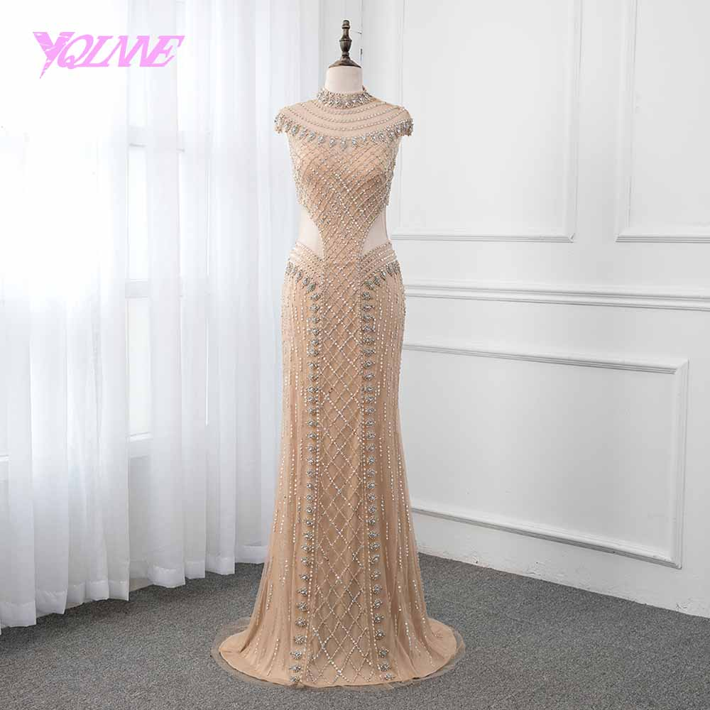 YQLNNE 2018 gold mermaid   evening     dress   high neckline crystals beading formal women gown   dresses   robe de soiree Pageant   Dresses