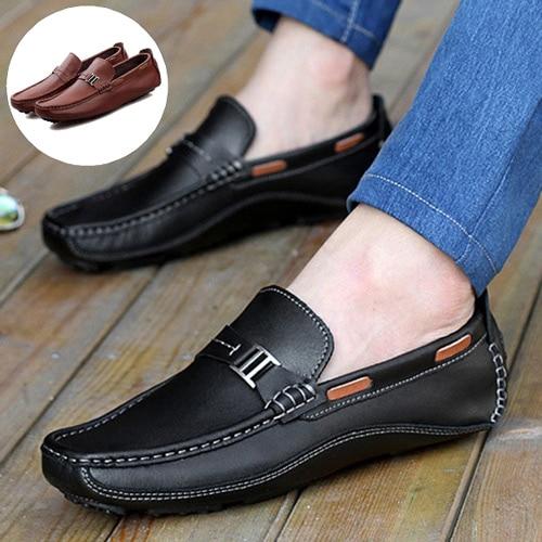 atractivo y duradero comprar original mejor calificado Hombres Zapatos auténticos Zapatos mocasines de cuero Slip On moda Casual  Zapatos mocasines conducción pisos Sapatos Masculinos Social Zapatos Hombre  ...