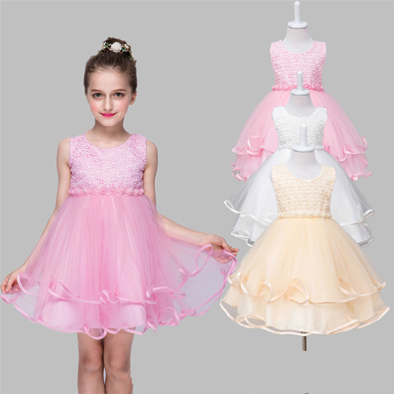 Подробнее о 2017 New Summer Baby Girls Party Dress Evening Wear Girl Clothes Elegant Flower Dress Beaded Lace Princess Kids Dresses GDR182 2017 new princess party wear toddler girls dresses kids clothes elegant child flower girl lace ivory kids dress for weddings