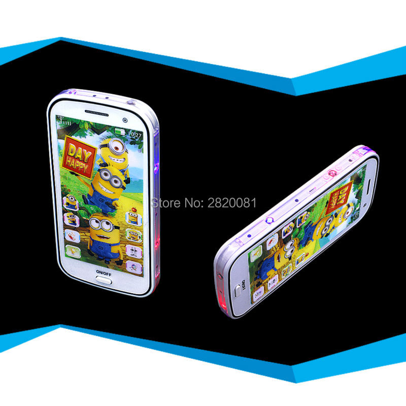 cartoon figure Minions smart phone learning machine,babys touch screen mobile plastic 4D phone with flash light toy
