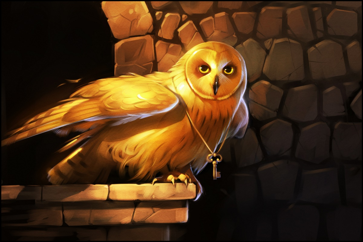 key wings art owl bird gold eyes animal art painting night CB17 Room living room home wa ...