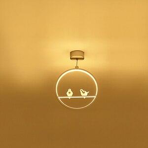 Image 4 - לבן/שחור תליון אורות מקורה מרפסת לופט בית תליית תאורה מודרני מטבח סלון אמנות ציפורים LED תליון מנורות