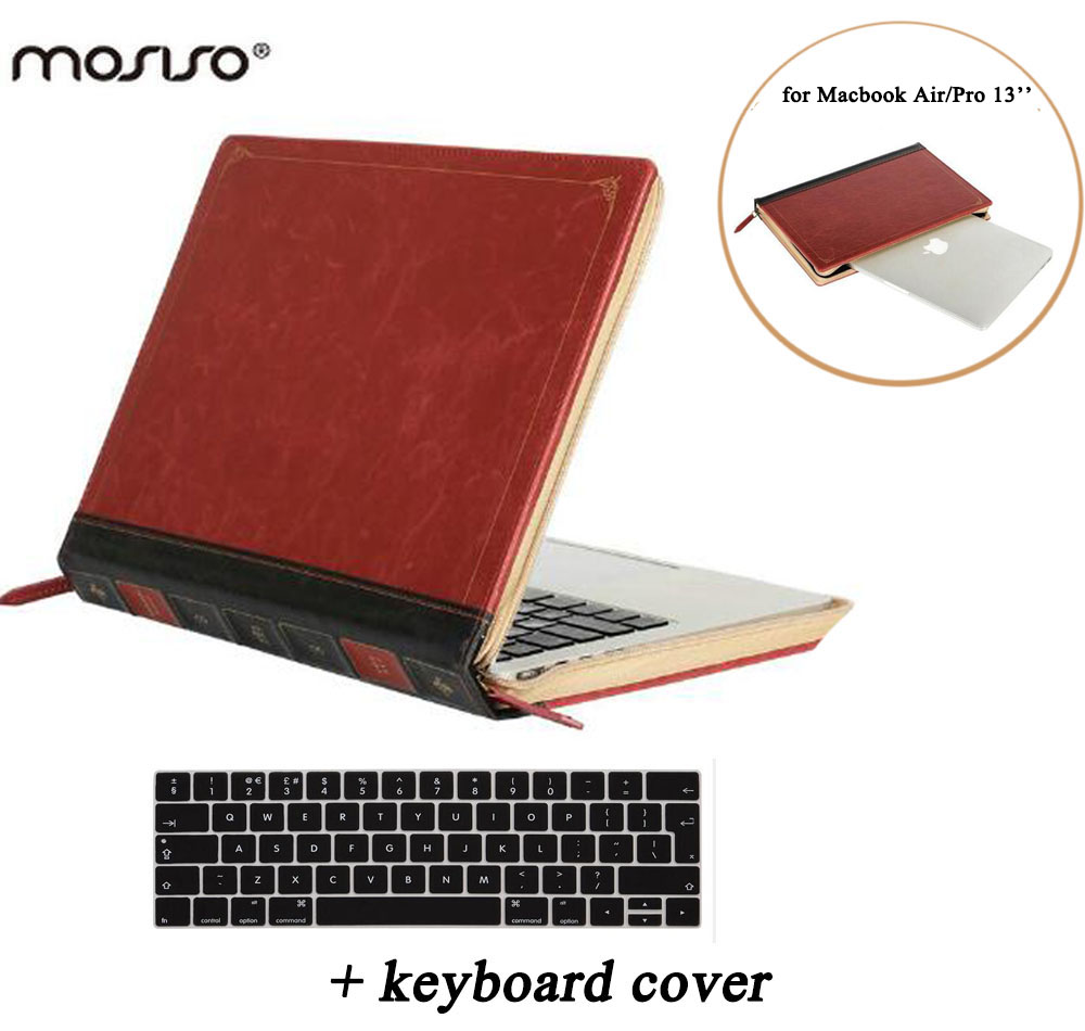 все цены на MOSISO for Macbook Pro 13 Retina Pro 13.3 inch PU Leather Vintage High Quality PU Book Leather Sleeve Cover for Mac book Air 13 онлайн