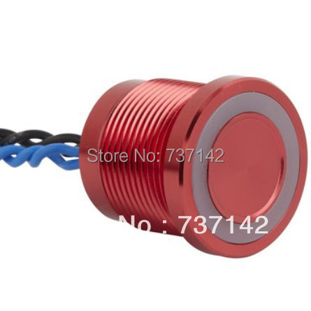 ELEWIND Red aluminum anodized piezo push switch (19mm,PS193P10YRD1B24L,Rohs,CE) elewind 22mm ring illuminated piezo switch 22mm ps223p10yss1b24t rohs ce