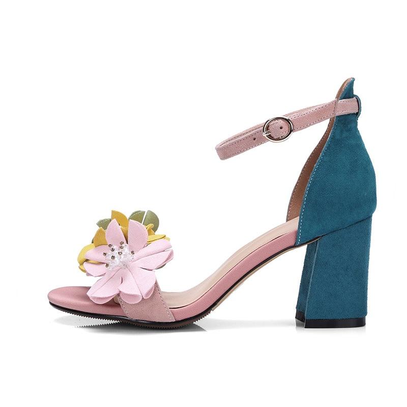 Wetkiss 2019 패션 꽃 샌들 여름 키즈 스웨이드 숙녀 샌들 발굽 뒤꿈치 여성 신발 버클 여성 신발 핑크 베이지-에서하이힐부터 신발 의  그룹 2