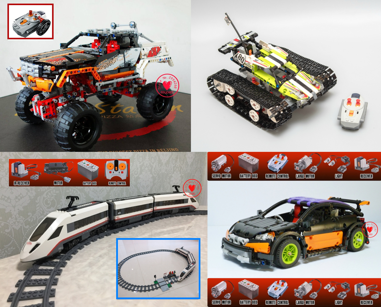 NEW RC tracked racer technic series Car fit legoings technic city Car Electric Motor fuction Building Block bricks DIY Toys gift