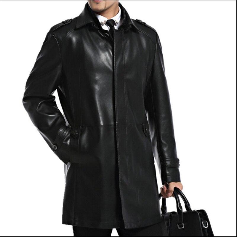 Hommes en cuir vestes en peau de mouton mâle veste zippée automne décontracté veste hommes mode Long homme en cuir vestes A2552