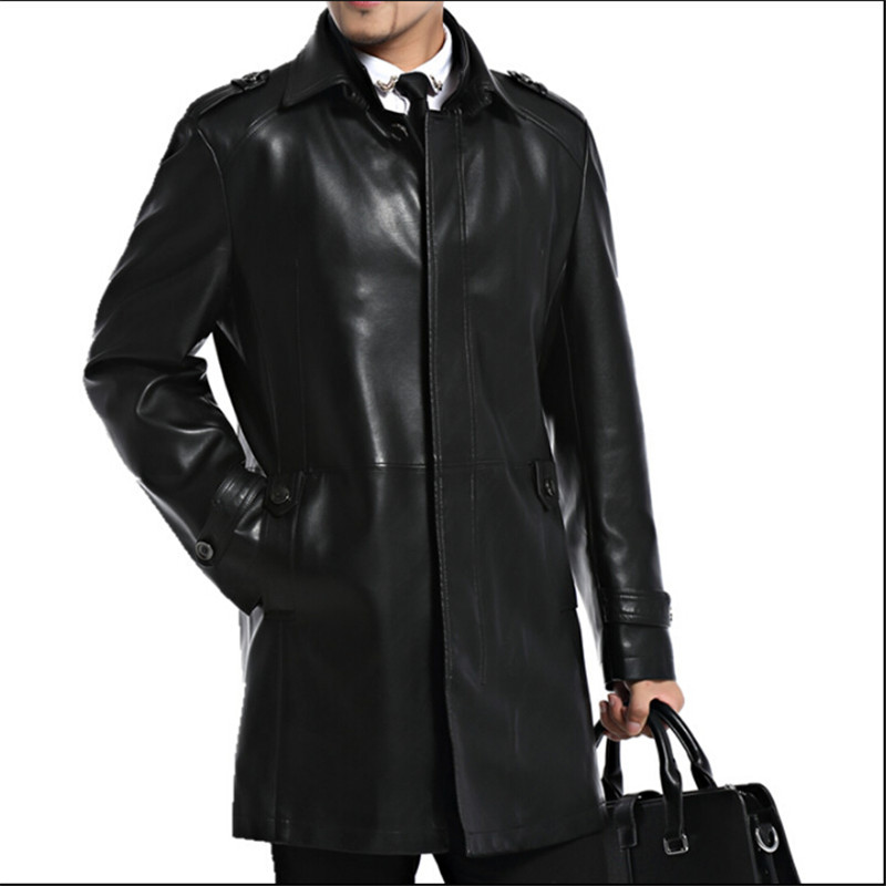 Men Leather Jackets Sheepskin Male Outwear Jackets Autumn ...