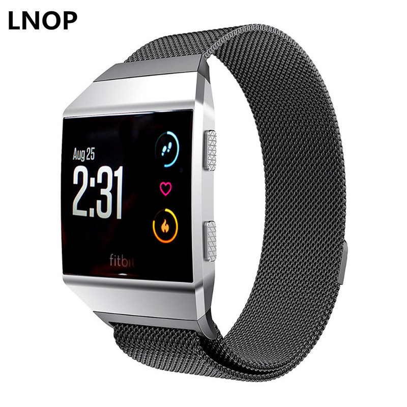 LNOP Milanese Loop Strap For fitbit ionic band smart watch band Stainless Steel wristband Link Bracelet metal replacement strap