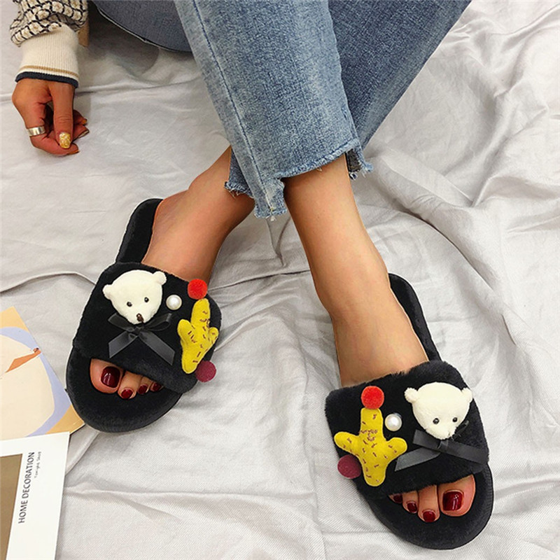 2019 Women Winter Slippers Cute Bear Soft Sole Slides Home Slippers Indoor Outdoor Shoes Women Bathroom Flip Flops Shoes #40