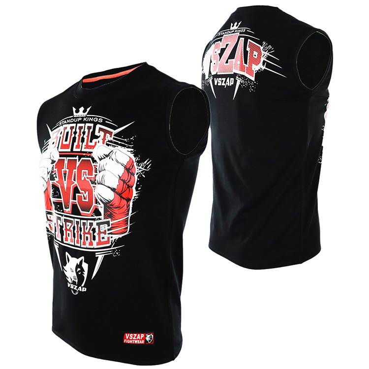 VSZAP MUAY THAI Fighting MUAY THAI Boxing Short Sleeve T-shirt Broadcasting For  Fitness Tiger Wulin Wind MMA Male
