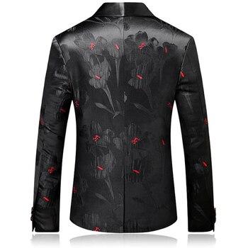 Black Red Blazer Slim Masculino Abiti Uomo 2018 Wedding Prom Blazers Single button For Men Stylish Suit Jacket EM001