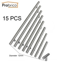 Probrico 15PCS Cabinet T Bar Handle Diameter 12mm CC 50mm 320mm Stainless Steel Furniture Drawer Knob