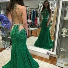 Sexy Open Back Meerjungfrau Abendkleider O Neck Kristall Perlen Abendkleid Gericht zug Mermaid Formale Kleid Für Frauen robe sirene