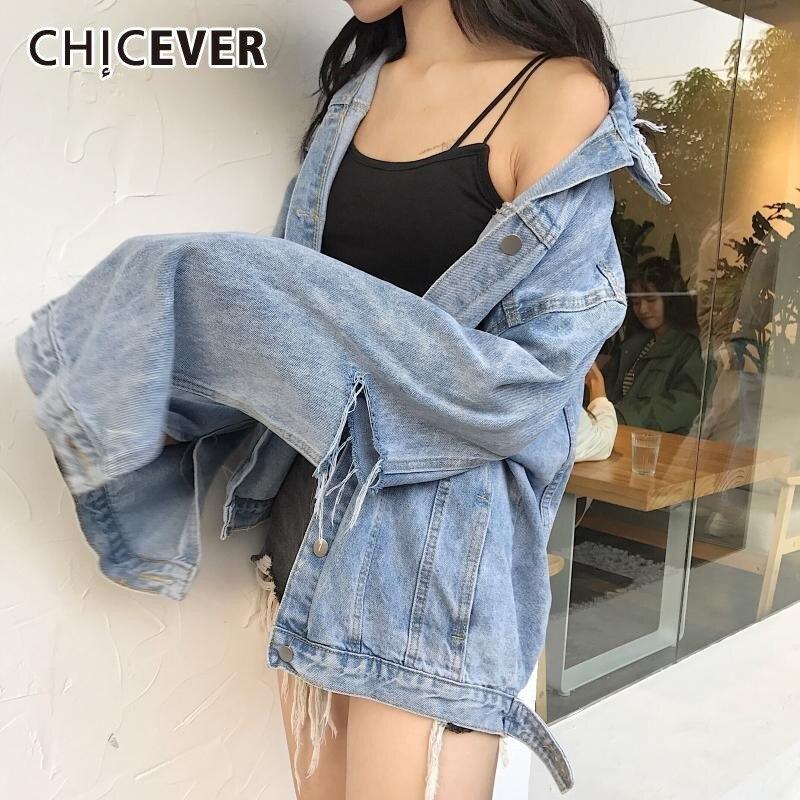 CHICEVER Vintage Hole Denim Jacket For Women Loose Coat Female Long Sleeve Autumn Personality Oversize Jackets Clothes Fashion