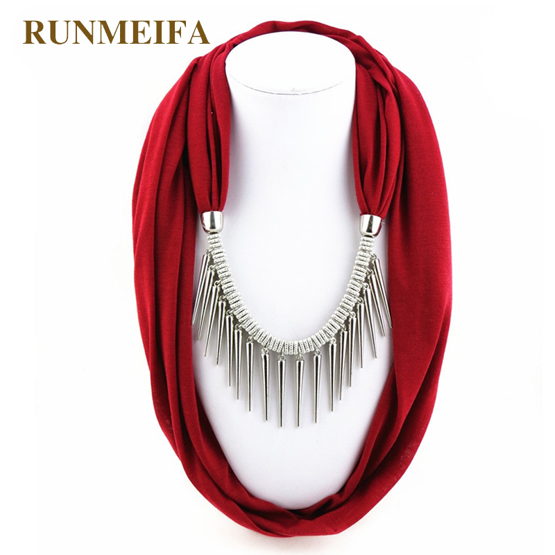 [RUNMEIFA]New Arrival Women Fashion Garment Accessory Punk Style Rivet Pendant Necklace Scarf Jewelry Charms Scarves Solid Color