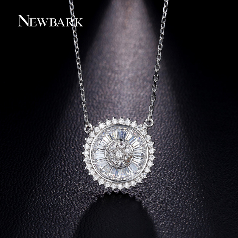 NEWBARK Hot Sale Personalised Dainty Circle Necklace Sun Shaped Round Eternity Necklaces Paved Surround CZ Zirconia Crystal Girl