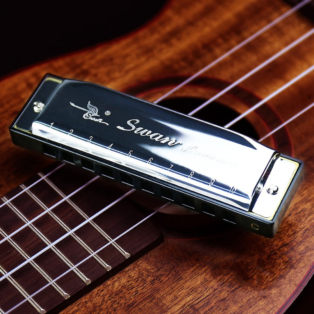Silver Metal Swan Diatonic Blues Harmonica/ Mouthorgan 10 Holes C Key Harp Mouth Organ