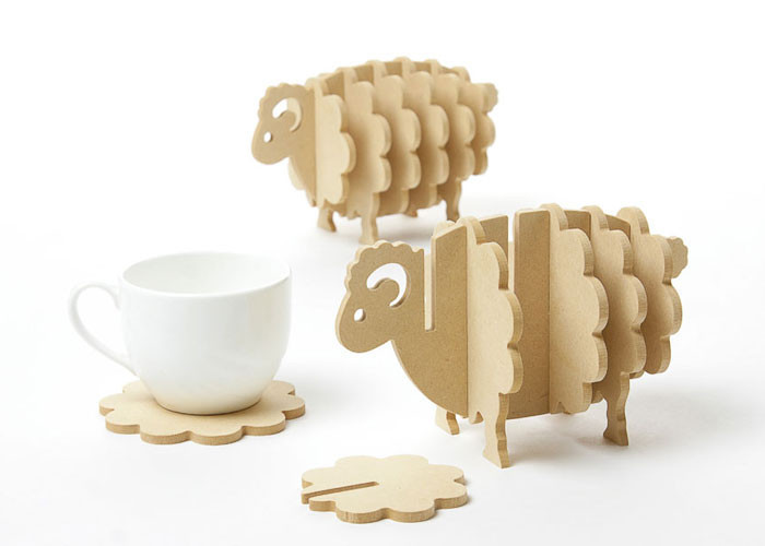 Non-slip wooden coaster placemats DIY handmade animal shaped coaster cafes coffee cup mat home decor