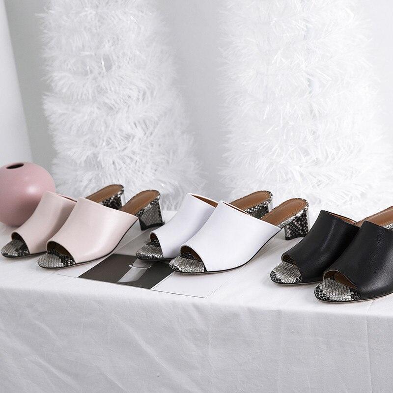 ASUMER big size 34 40 mode zomer schoenen vrouw peep toe ondiepe echt lederen schoenen vierkante hoge hakken schoenen sandalen vrouwen-in Mddel hakken van Schoenen op  Groep 3