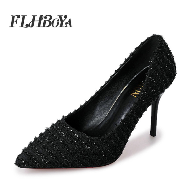 1665bf9bf New Fashion Woman Sexy Thin High Heels Mesh Pumps For Women Lady Weave  Trendy Black Pointed Toe Slip-on Shallow Femme Pump Shoes