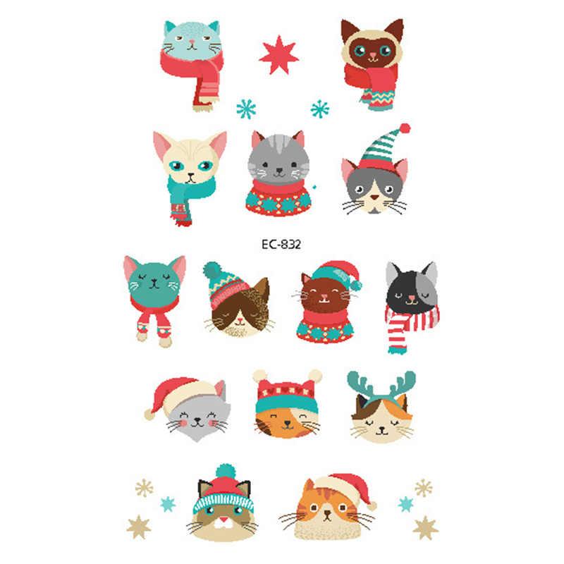 1pcs Christmas Children Disposable Fashion Tattoo Stickers Elk Christmas Unid / Snowman / Santa Claus Decoration DIY Sticker