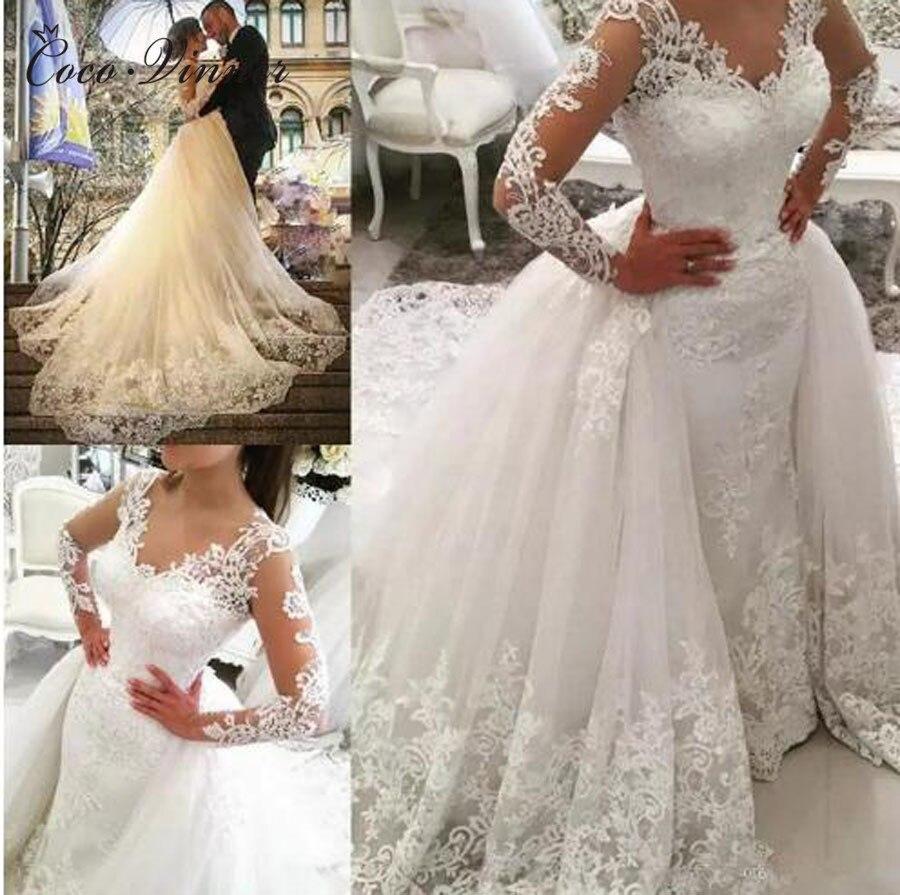 Wedding Dresses Long Sleeve Beaded Embroidery Dubai Lace Mermaid Wedding Dress With Detachable Train 2019 Appliques Wedding Gown