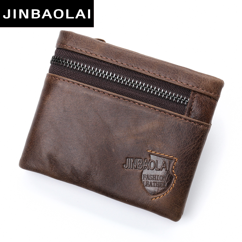 New Design 100% Leather Genuine Male Wallets Slim Short Men Wallet with Zipper Coin Purse Pocket soft leather Card Holder wallet williampolo mens zipper wallet genuine leather short purse cowhide card holder wallet coin pocket business wallets new year gift