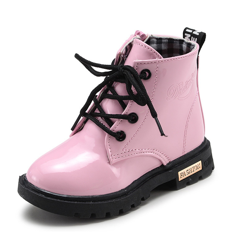 NEW 2020 Children Boots Autumn Winter Kids Snow Boots Boys Girls Shoes PU Leather Ankle Motorcycle Boots 02A