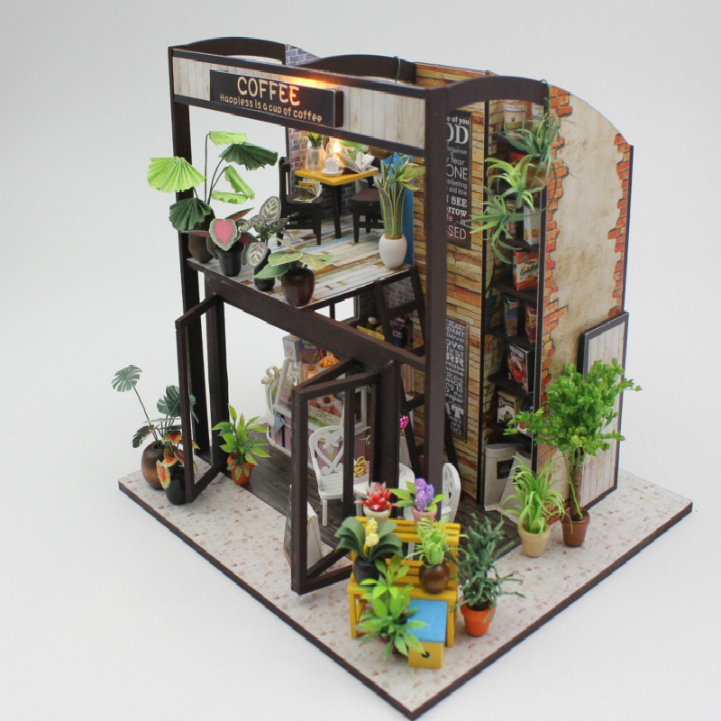 Hot Sale Lover Gift Diy Coffee Doll House Miniature Furniture House Toys for Children Wooden House Toys Building Model JHZQW072 2017 hot sale forest animals children assembled diy wooden building blocks toys baby toy best gift for children ht2265