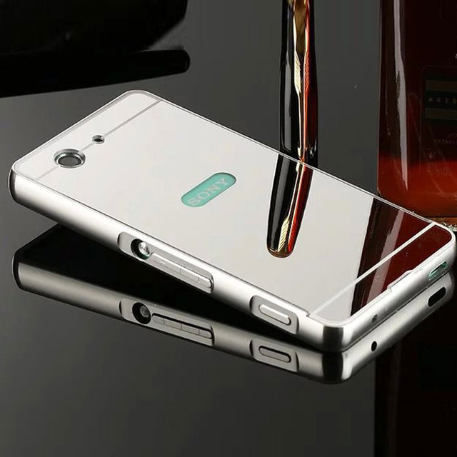 low priced 42e0f 17d28 Voor Sony Xperia Z3 Compact Case Aluminium Metal Bumper Frame Spiegel  Plating Cover Sony Z3 Compact Z3 Mini D5803 Spiegel Gevallen in Voor Sony  Xperia ...