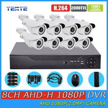 TEATE Dwelling Security 8CH Full 1080P DVR 2000TVL 1080P 2.0MP Outside Safety surveillance Digital camera Equipment HD AHD eight channel CCTV System