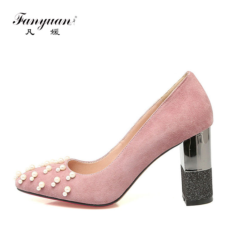 ФОТО 2017 Fanyuan Summer Sexy Women Pumps Slip-on Suede Pointed Toe Super High Square Thick Heels Pearl Decoration Ladies Shoes