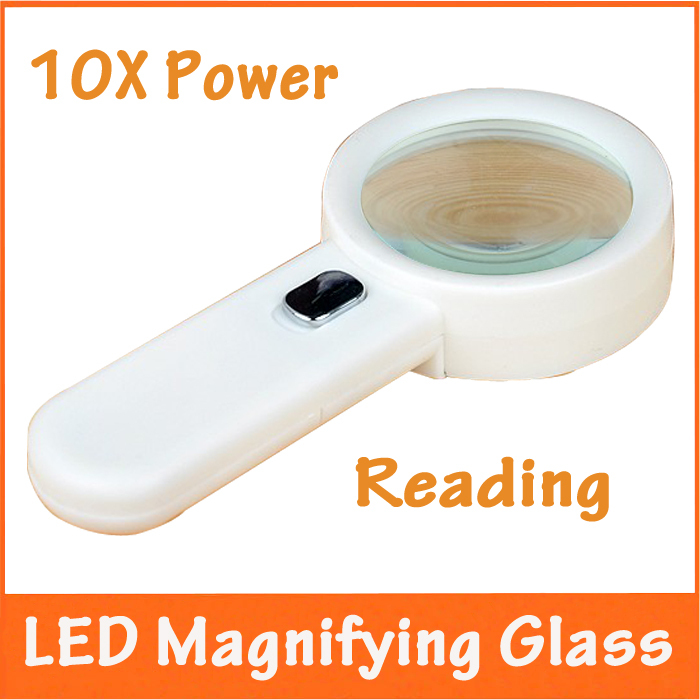 10X Illuminated Household Office Reading Magnifier Dedicated Handheld Magnifying Glass Loupe with LED Lights for Field Test 3x 45x 3 led handheld reading magnifier