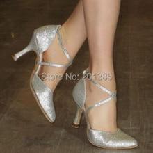 Новинка; ; Серебристые блестящие туфли с закрытым носком для танцев; бальные туфли для сальсы, латинских вальсов, Танго, бачаты; танцевальные туфли; все размеры