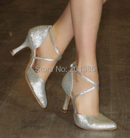 New Free Shipping Silver Glitter Closed Toe font b Dance b font Shoe Ballroom Salsa Latin